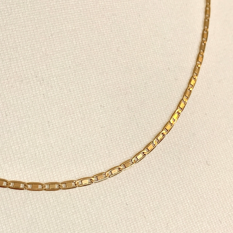 Long Vintage 14CT Gold Flat Anchor Mariner Chain Necklace \u2022 20 Inch \u2022 2mm