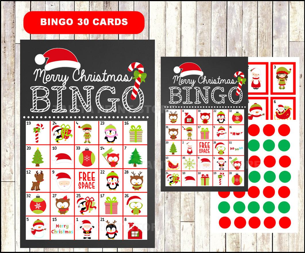 Printable 20 Christmas Bingo Cards printable Christmas Bingo | Etsy