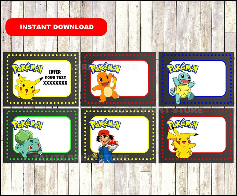 graphic regarding Pokemon Printable Cards identified as Pokemon Printable Playing cards, tags, guide labels, stickers, youngsters playing cards, present tags, labeling, sbooking EDITABLE Quick Down load