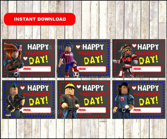 Roblox Valentines Day Card Printable Roblox Valentine Etsy