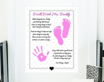 graphic about Walk With Me Daddy Poem Printable referred to as Stroll With Me Daddy Poem Hand Prints Reward Footprints Present Etsy