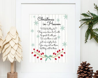 photo regarding Christmas in Heaven Poem Printable named Xmas poem Etsy