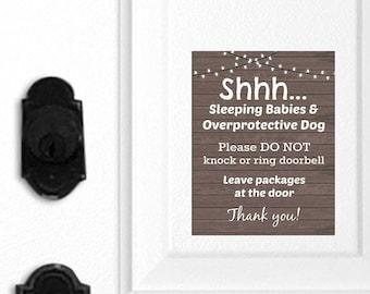 No Soliciting Door Sign, Sleeping Babies Sign, Overprotective Dogs Sign, Door Magnet, Do Not Ring Doorbell, Do Not Knock, Leave Packages 006