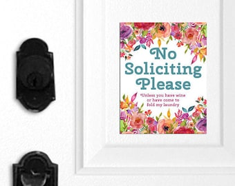 No Soliciting Magnet, Funny No Soliciting Sign, No Soliciting Door Sign, Do Not Disturb Sign, Door Hanger, Wine Sign, Laundry Sign, 061-2