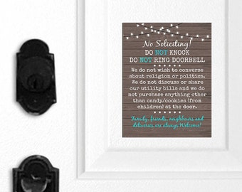 No Soliciting Door Magnet, Do Not Knock Sign, Do Not Ring Doorbell Sign, Funny Sign, Family Welcome, Friends Welcome, Deliveries Welcome 094
