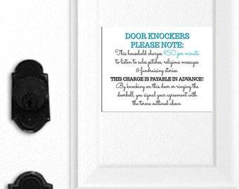 Funny No Soliciting Sign, No Soliciting Door Magnet, Do Not Ring Doorbell, Do Not Knock, No Soliciting Door Hanger, Front Door Sign, 034