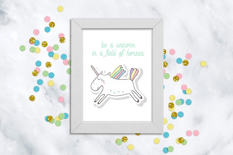 graphic about Be a Unicorn in a Field of Horses Free Printable named Be a Unicorn within a marketplace of Horses Print, Unicorn Print, Gals Bed room Decor, Inspirational Quotation, Unicorn Wall Artwork, Electronic Obtain, Magic