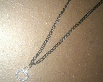 silver charm black chain necklace