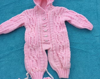 beautiful hand knitted cable all in one with bootees
