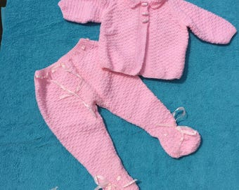 hand knitted baby pramsuit