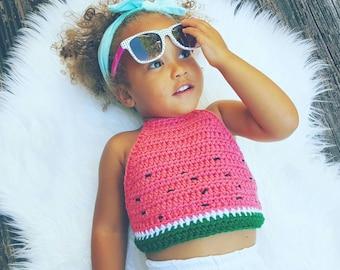 Watermelon crochet baby doll top, crochet top, toddlers watermelon top , summer kids top