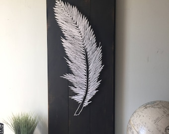 Feather String Art, Fether Wood Sign, Feather Art, Handmade Wood Sign, Lost Loved One Sign, Feather Wooden Sign,