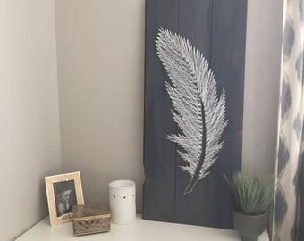 Feather String Art, Blue Feather Art, String Art Sign, Feather Gft, Wooden Sign, Feather Art,