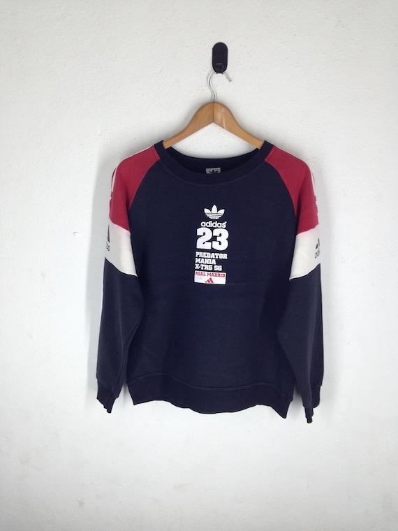 Rare !! ADIDAS Real Madrid Predator Mania David Beckham Sweatshirt Big Logo Hip hop fashion Swag Hipster era