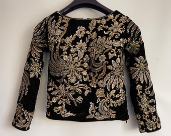 Vintage Heavily Embroidered beaded Black Velvet Top XS  Excellent condition Sz U.K. 6 US 2