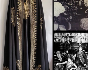 Stunning Vintage 70s Moroccan Gold Embroidered Black Long Ceremonial Wedding Robe Kaftan with matching cape O/S fits up to a U.K. 18 US 14