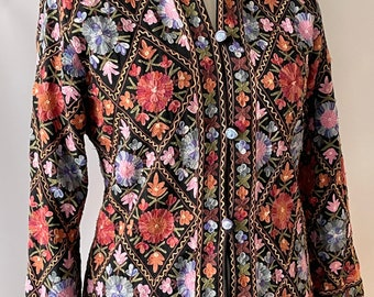 Vintage INDIAN Wool Kashmiri Nehru Crewel Embroidered Coat M UK 12-14 US 8-10