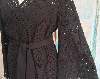 Black Embroidery Anglais Schiffli Eyelet Cotton Scalloped Wrap Dress With Detachable Slip Dress UK: 10,12,14,16,18,20
