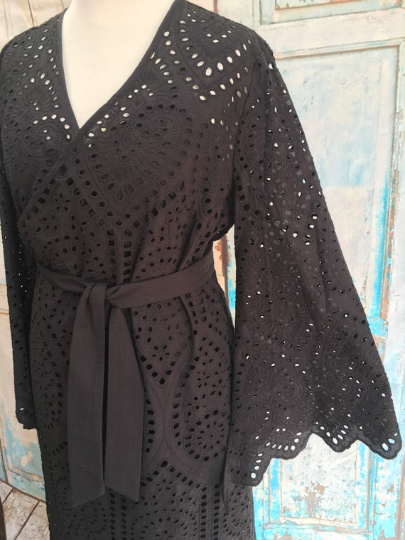 New Next Ivory Cotton Crochet Lace Fringe Trim Kaftan Sz L UK 16-18