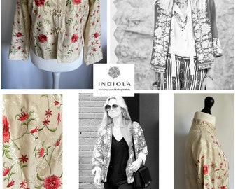 Vintage Monsoon Silk embroidered Cream chinoiserie chinese Oriental Jacket with Frog Buttons U.K. 12 US 8