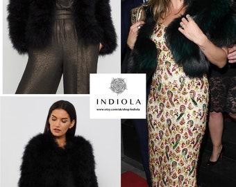 Beautiful Ultra Glam Real Ostrich Feather Black Short Fur Jacket. Sz L U.K. 12-14 US 8-10 NEW
