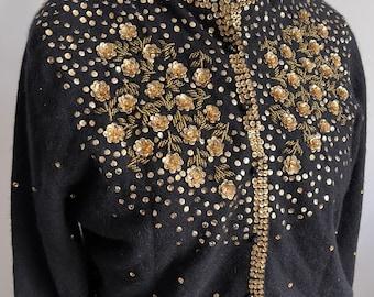 Vintage hand embellished  sequinned beaded Black 70% Lambs Wool & Angora Mix cardigan with gold embellishments Sz. L U.K. 14-16 US 10-12