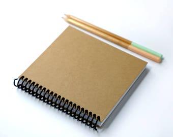 Square Kraft Sketchbook / Square Journal / 7x7 in / Spiral Sketchbook / Kraft Sketchbook / Unlined Sketchbook / Unlined Journal / Square