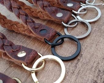 Leather Braided Strap Keychain