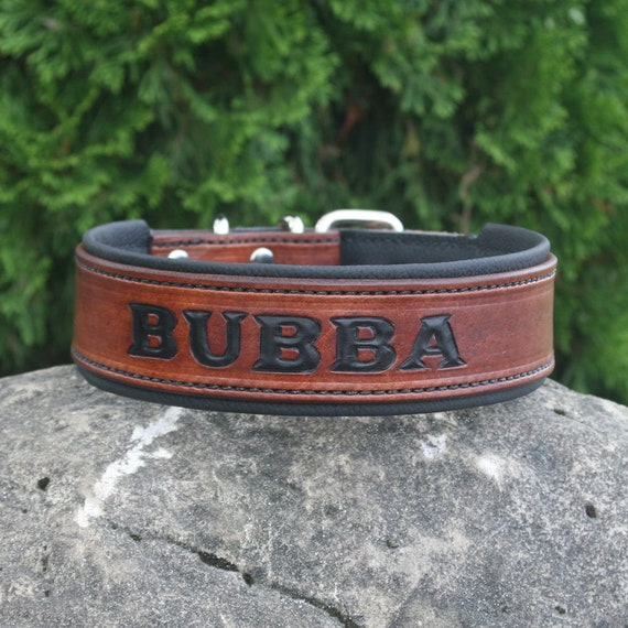 Quality Dog Collars Handcrafted Leather Dog Collar with your dogs name 1/&12 inch wide 100/% Real Leather