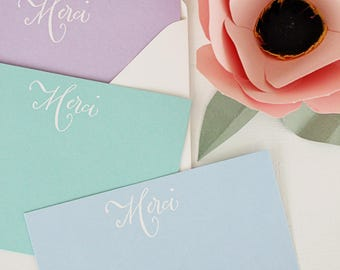 Embossed Note Cards, Merci, Flat Note Cards, Thank You Notes, Stationery Sets