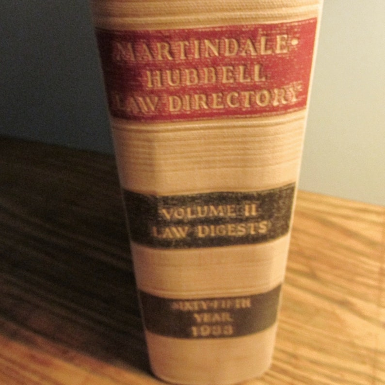 Vintage Law Directory: Martindale-Hubbell Law Directory Vol II- 1933