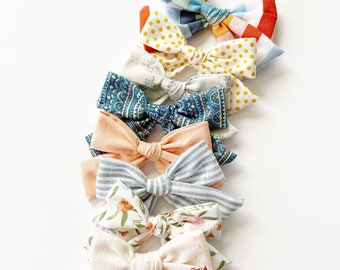 Spring Mother\u2019s Day Hair Bow Pink Silver Watercolor Floral