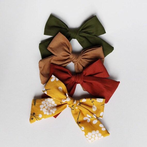 Yellow hair bow clip school colour hair accessories