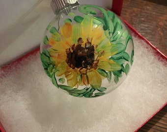 Hand painted Sunflower Ornament