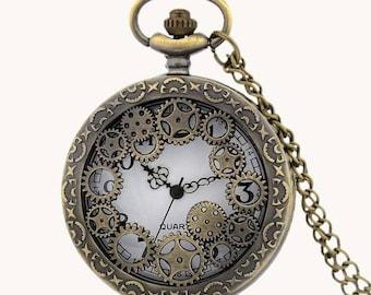 Steampunk Gears Pocket Watch Pendant
