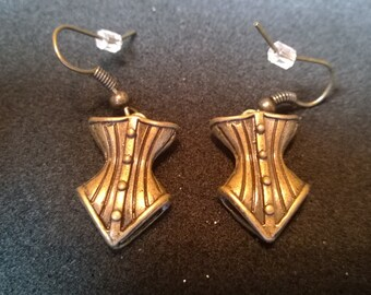 Steampunk Corset Earrings - Antique Brass Findings - Steampunk - Fantasy