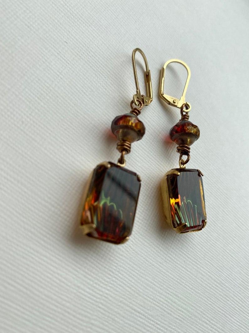 Art Nouveau Earrings Vintage Earrings Glass Earrings Art Deco Style Art Deco Jewelry Vintage Gem Earrings Vintage Gems