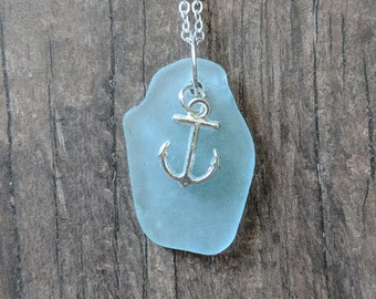 Rare Aqua Blue Beach Glass Anchor Necklace | One Of A Kind Sea Glass Jewelry Pendant | Sea Glass Necklace | Sea Glass Beach Glass Jewelry