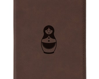 1add5a8c2768da Russian Nesting Doll Brown Leather Passport Holder - Laser Etched Design -  Engraved Passport Holder For Women And Men