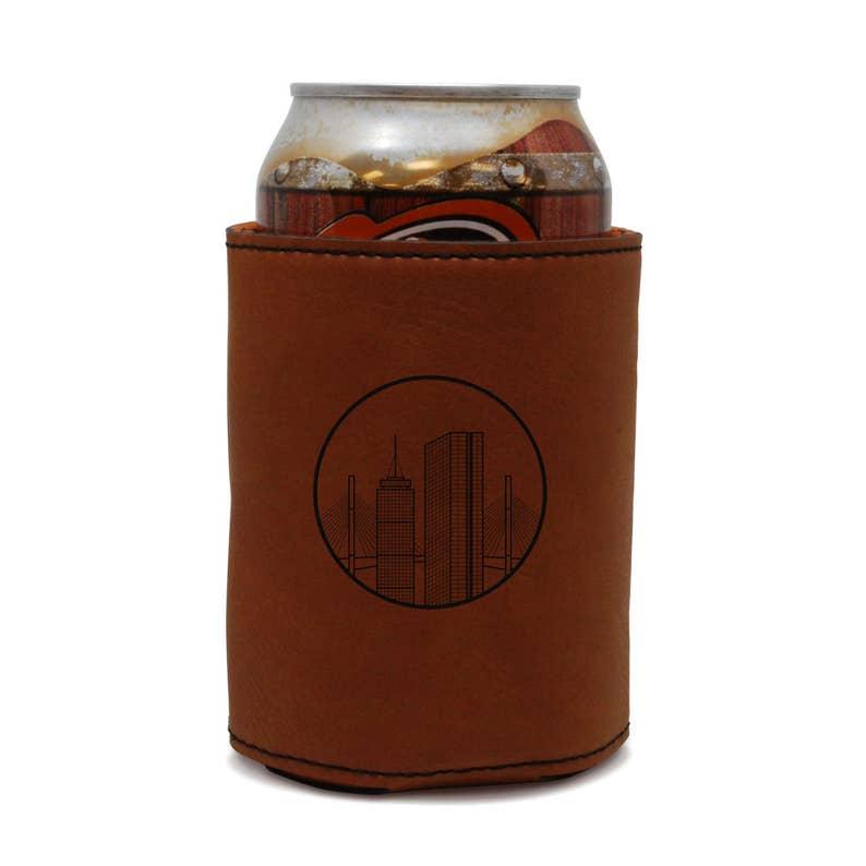Beer Hugger Beer Cooler Beer Sleeve Boston Skyline Leather Can Sleeve