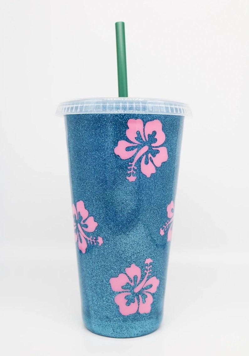 Disney Themed Lilo and Stitch; Blue Glitter Starbucks Venti Plastic Tumbler