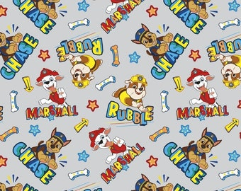 Paw Patrol Toss Puppies on Red 43 wide 100/% cotton premium quilting fabric DA4