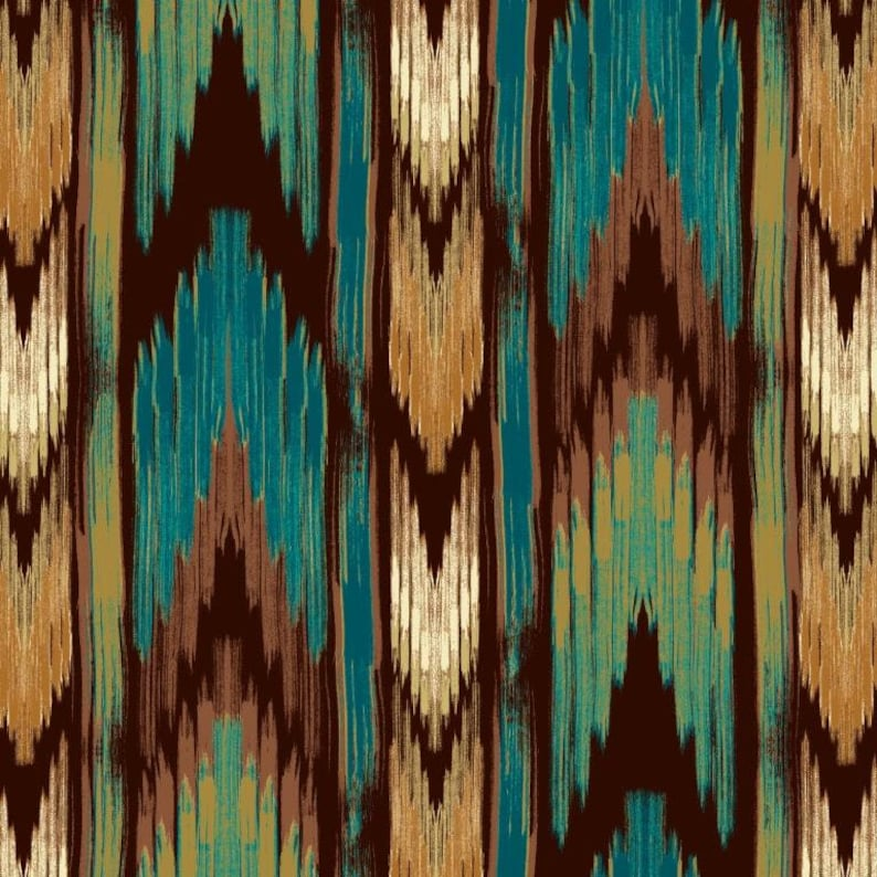 Southwest Stripe teal/brown cotton fabric by the yard /David Textiles/Free  shipping available /aztec fabric/tribal fabric/Your Fleece