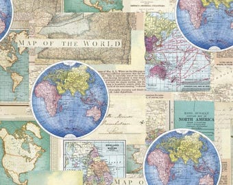 vintage cartography cotton fabric by the yarddavid textilesfree shipping availablemap