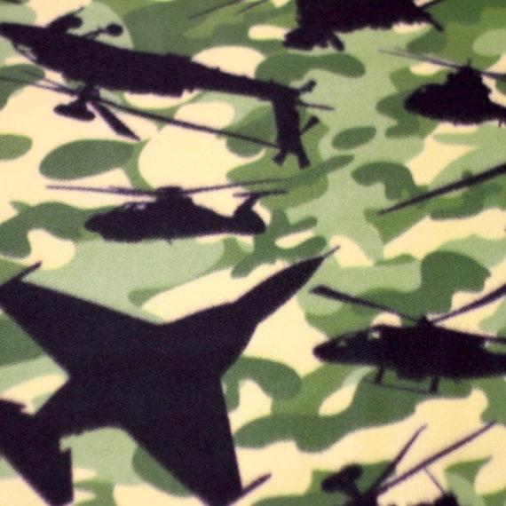 Airplane Camouflage Fleece Fabric No Sew Throw Kit 50x60