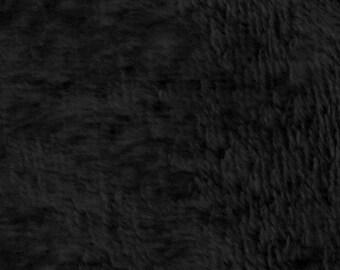 Black Minky Plush Fleece Fabric By The Yard