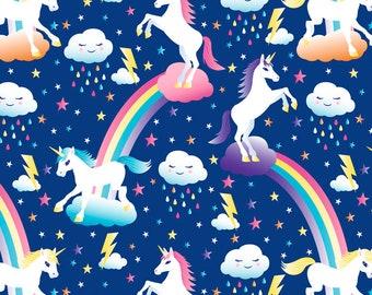 Unicorns & Rainbows Minky Plush Fleece Fabric, 1.5 Yard Precut