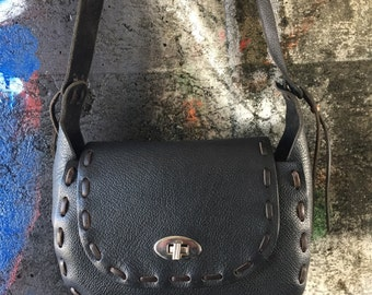 Black hand crafted flap purse