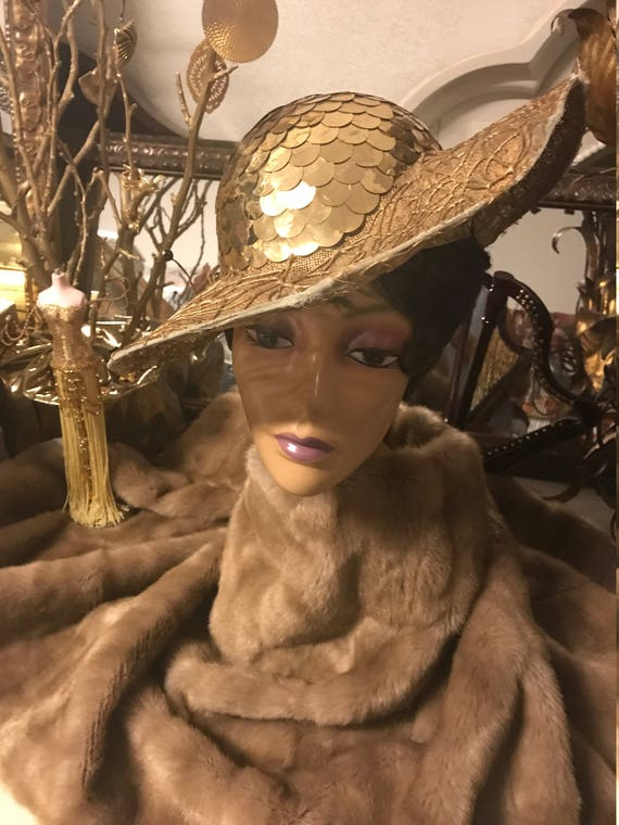 1920/30's Gold Sequin Hat