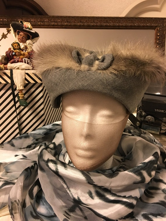 1950's Grey Feather hat